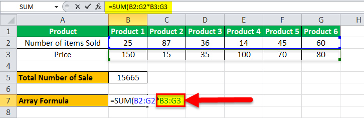 Arrays Formula in Excel example 1-7
