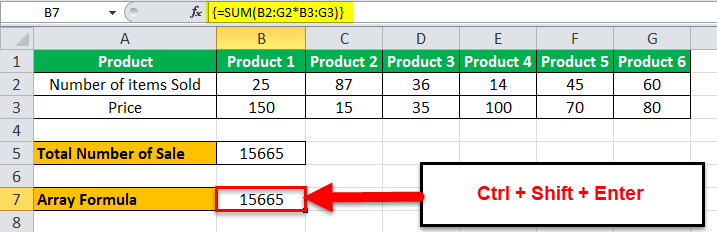 Arrays Formula in Excel example 1-8