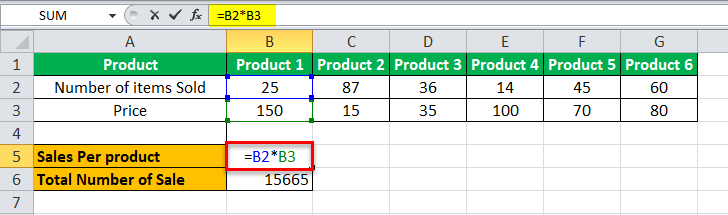 Arrays Formula in Excel example 2-1