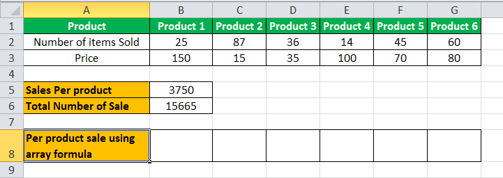 Arrays Formula in Excel example 2-2