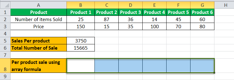 Arrays Formula in Excel example 2-3