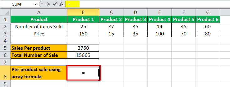 Arrays Formula in Excel example 2-4