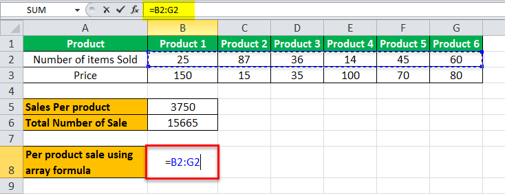 Arrays Formula in Excel example 2-5