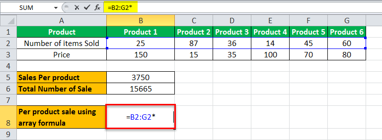 Arrays Formula in Excel example 2-6