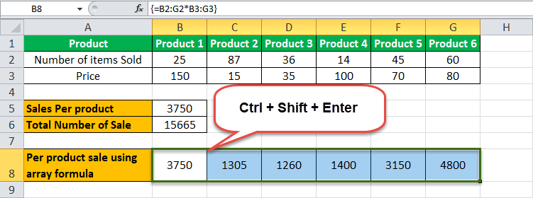 Arrays Formula in Excel example 2-8
