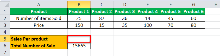 Arrays Formula in Excel example 2