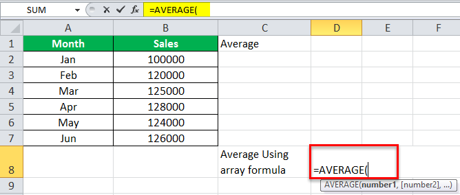 Arrays Formula in Excel example 3-2
