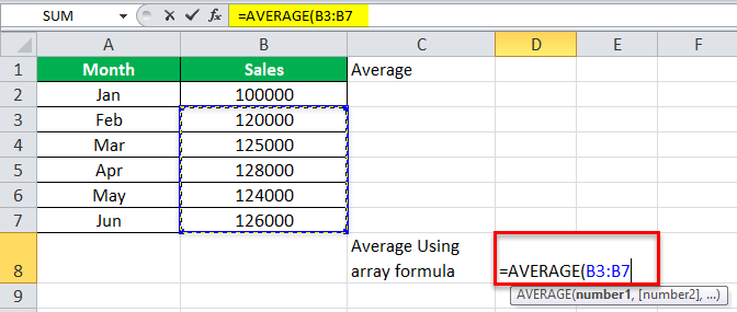 Arrays Formula in Excel example 3-3