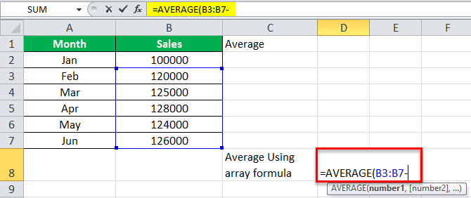 Arrays Formula in Excel example 3-4