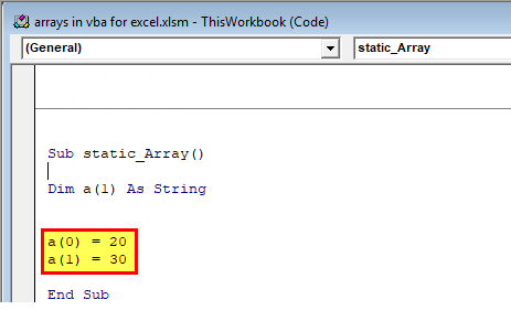 Arrays in VBA Excel 2