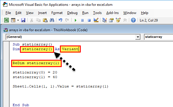 Arrays in VBA Excel Dynamic Array).