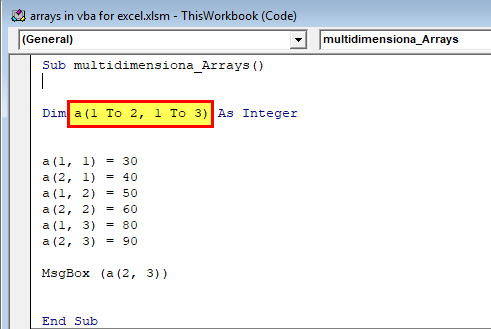 Arrays in VBA Excel (Multidimensional Array) 1