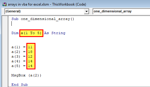 Arrays in VBA Excel (One dimensional array) 1