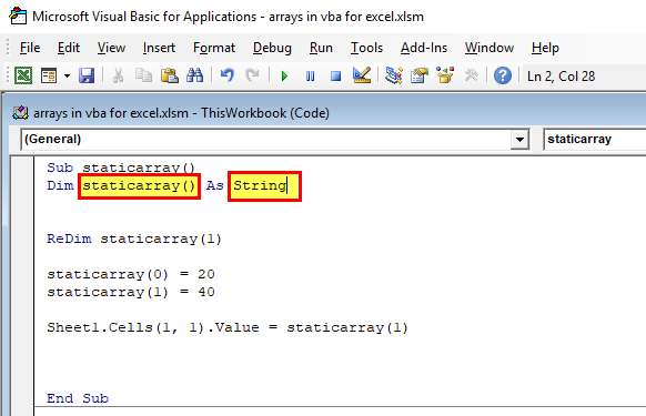 Arrays in VBA Excel (Static Array)