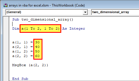 Arrays in VBA Excel (Two dimensional array) 1