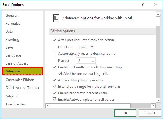 Creating Custom list (Excel Options Dialog box)