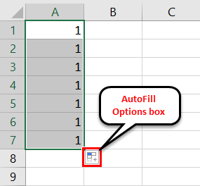 AutoFill in Excel - Example 1-3