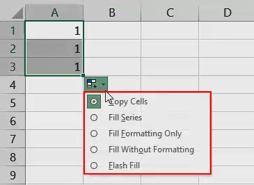 AutoFill in Excel - Example 1 (AutoFill options)