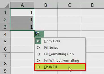 AutoFill in Excel - Example 1 (Fill Flash option)