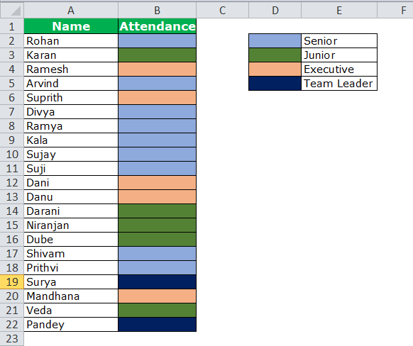 Column Sort by color in excel example
