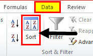 Column Sort Excel Step 2