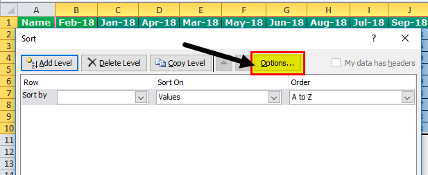 Column Sort Excel Step 3