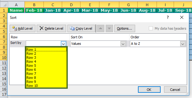 Column Sort Excel Step 5