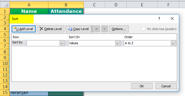 Column Sort by color in excel step 3