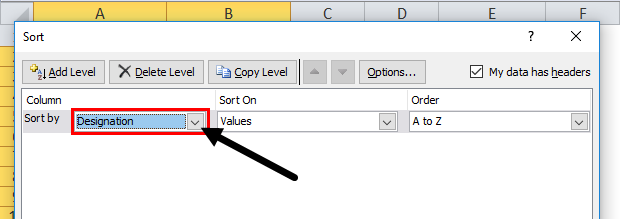Column Sort by color in excel step 4
