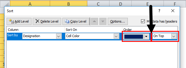 Column Sort by color in excel step 6