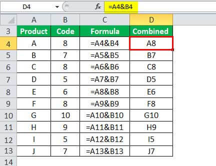 Combine Cells in Excel Example 1-1