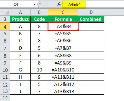 Combine Cells in Excel Example 1