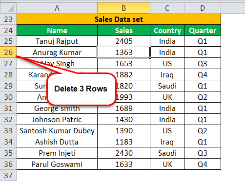 Delete multiple rows example 1-3