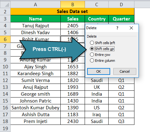 Deleting a Row using Excel example 1-1