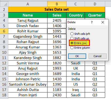 Deleting a Row using Excel example 1-2