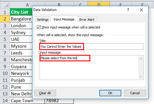 Drop Down List in excel step 9