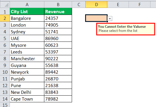 Drop Down List in excel step 10