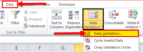 Drop Down List in excel step 1