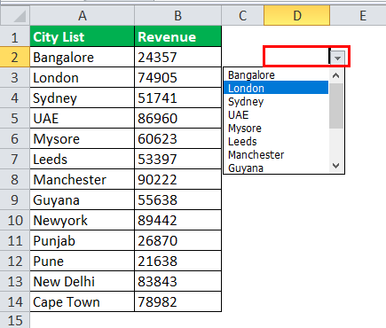 Drop Down List in excel step 6