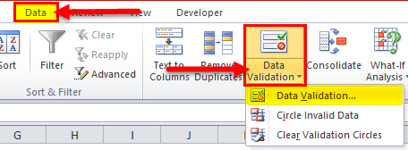Drop Down List in excel Example 1
