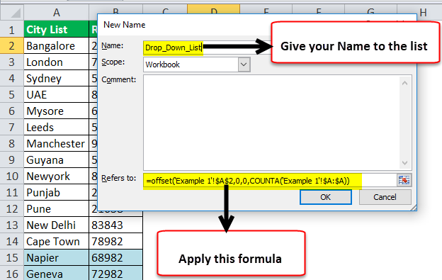 Drop Down List in excel step 2-3