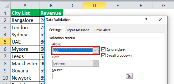 Drop Down List in excel step 2-4