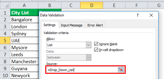 Drop Down List in excel step 2-5