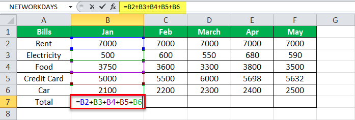 Equation in Excel Example 1-1
