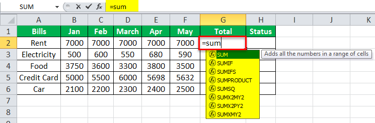 Equation in Excel Example 2-1