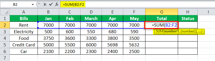 Equation in Excel Example 2-2