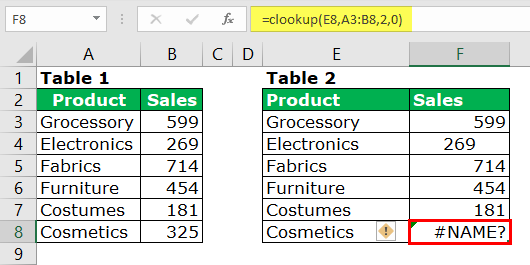 Fixing NAME Error in VLOOKUP