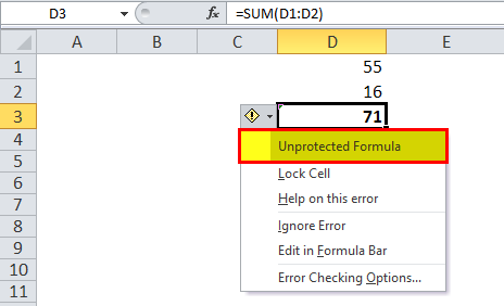 Hide Formulas in Excel Step 5