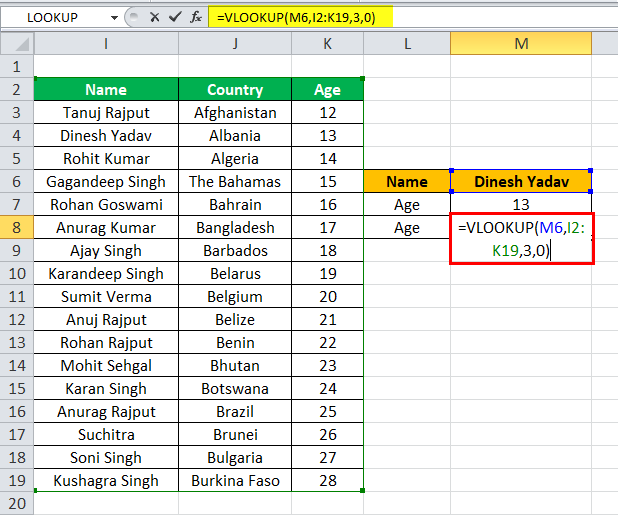 Index match as Vlookup alternatives example 1-2