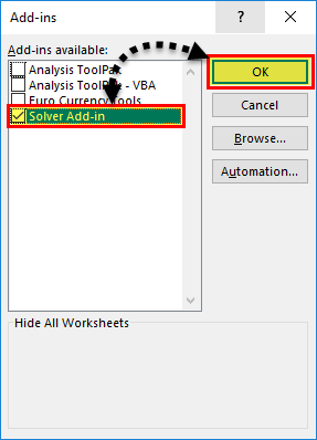 Solver in Excel - step 4